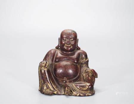 CHINESE LACQUER WOOD SEATED BUDDHA