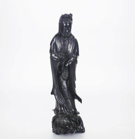 CHINESE LACQUER WOOD CARVED STANDING GUANYIN