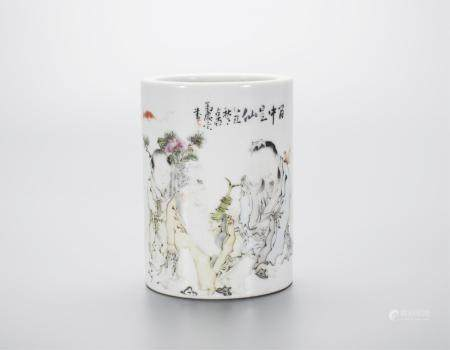 CHINESE QIANJIANG PORCELAIN BRUSH POT BY MA QING Y