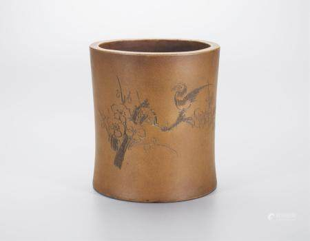 CHINESE YIXING ZISHA CARVED BRUSH POT