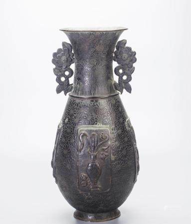 CHINESE BRONZE VASE, FLORAL MOTIF, MARKED