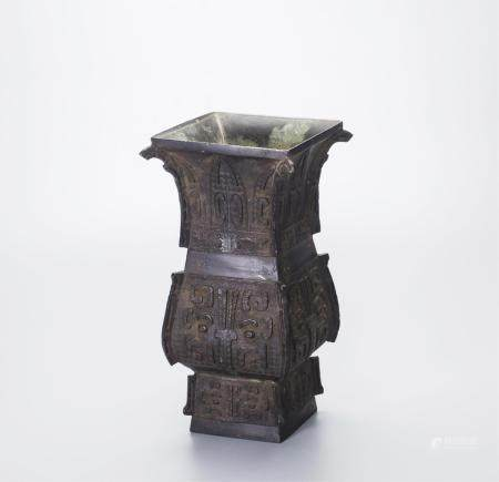 CHINESE BRONZE VASE WITH TAOTIE MASK