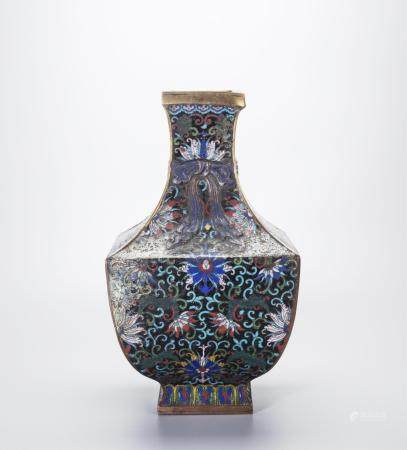 CHINESE CLOISONNE FOLIAGE VASE WITH MARK