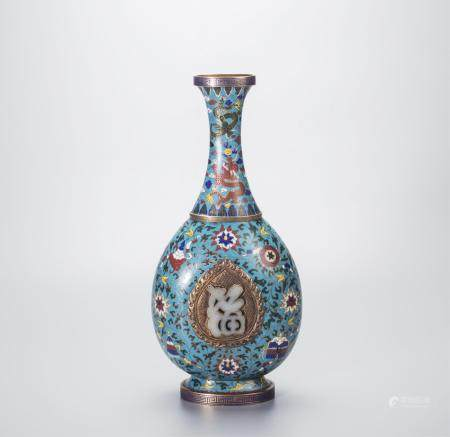 CHINESE CLOISONNE VASE WITH JADE PLAQUE