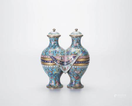 CHINESE CLOISONNE TWIN VASE WITH COVER