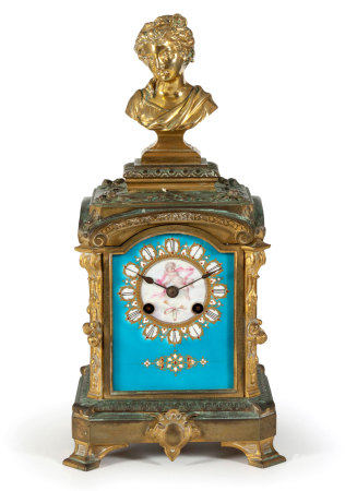 A CONTINENTAL 'BLEU-CELESTE' PORCELAIN AND GILT-METAL MANTLE CLOCK