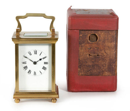 A CASED BRASS CARRIAGE CLOCK