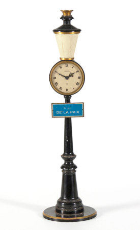 A GILT-METAL AND BLACK LACQUERED JAEGER-LECOULTRE RUE DE LA PAIX LAMP POST CLOCK
