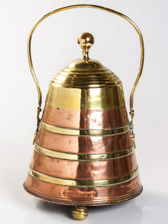 A DUTCH COPPER AND BRASS-BANDED DOOFPOT PEAT BUCKET, 19TH CENTURY