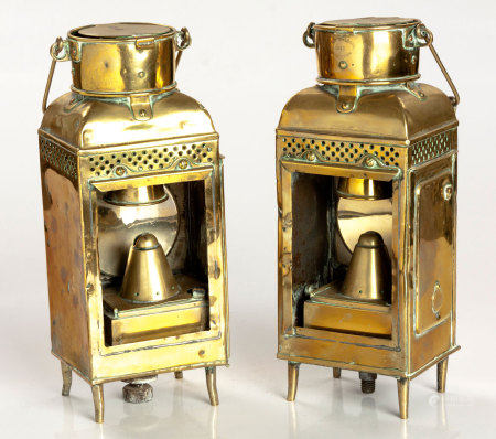 A PAIR OF BRASS HAND LANTERNS, 1913