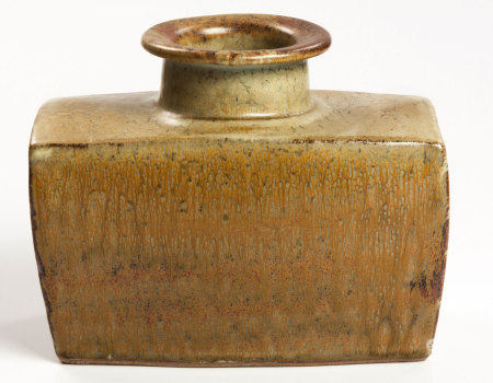 ESIAS BOSCH (SOUTH AFRICAN 1923 - 2010): A SLAB-BUILT STONEWARE VASE