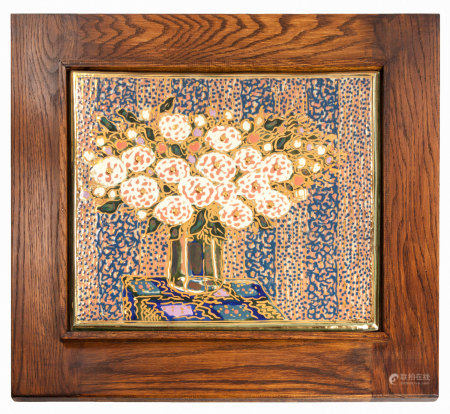 ESIAS BOSCH (SOUTH AFRICAN 1923 - 2010): A FRAMED LUSTRE TILE OF A VASE OF FLOWERS