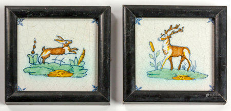 TWO DELFT POLYCHROME TILES, 19TH CENTURY