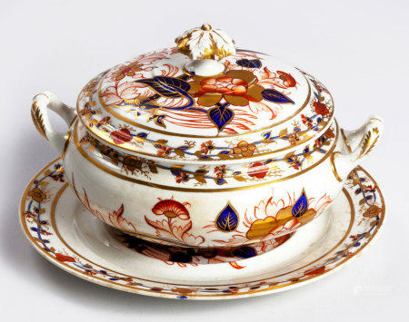 A JOHN RIDGWAY SUGAR BASIN AND COVER, CIRCA 1815