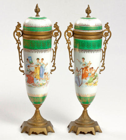 A PAIR OF VIENNESE PORCELAIN AND GILT-METAL URNS, LATE 19TH CENTURY
