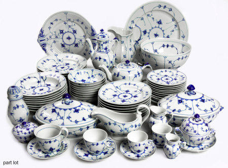 A ROYAL COPENHAGEN FLUTED 'BLUE FLOWER' PATTERN PART DINNER SERVICE, 20TH CENTURY