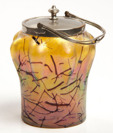 A WILHELM KRALIC IRIDESCENT GLASS BISCUIT BARREL, CIRCA 1900