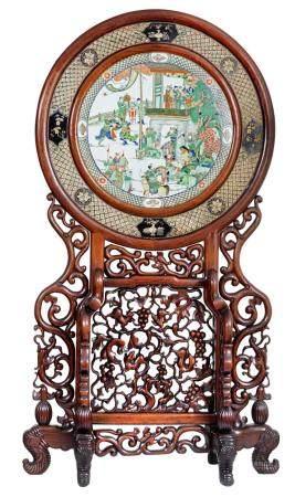 Chine, époque Kangxi (1662-1722) et XIXeRare et important écran double-face en huali sculpté et