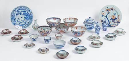 Chine, XVIII-XIXeLot comprenant 42 pièces en porcelaine (assiettes, pochons, bols, vases, bouil