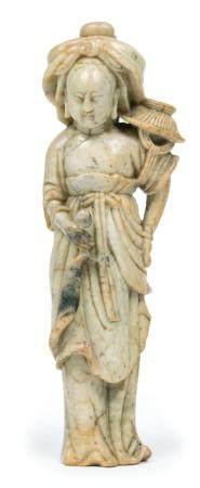 Chine, XVIII-XIXePêcheusePierre dure sculptéeH: 16 cm