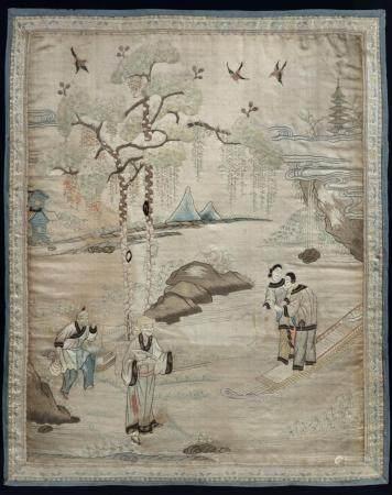 Chine ou Vietnam, XIXeBroderie en soie à décor polychrome de scène de vie64 x 51 cm(légères t