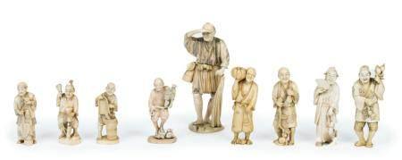 Japon, époque Meiji (1868-1912)Lot de neuf okimono en ivoire sculpté représentant des paysans,
