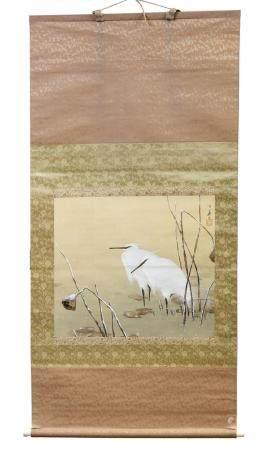 Maeda KOKA (1847-1916)Kakemono figurant deux hérons dans un paysage enneigéPeinture sur soie44,