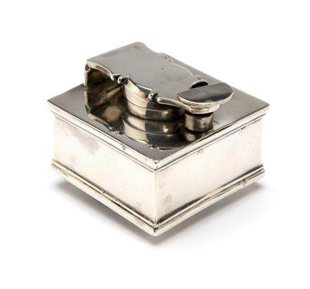 An English silver travelling inkwell