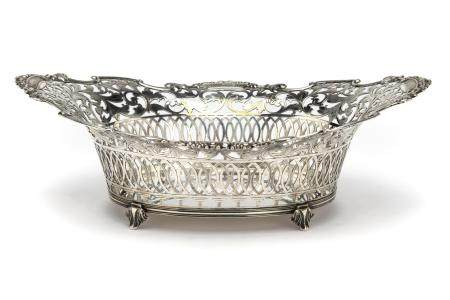 A large Dutch silver basket