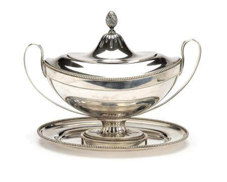 A large Dutch silver tureen in Empire style