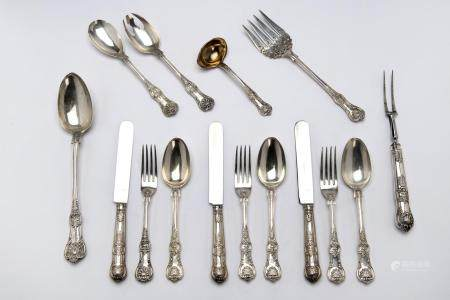 An English silver collection of flatware