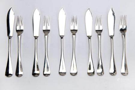 Twelve Dutch silver fish knives and forks