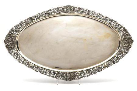 A Dutch silver serving tray