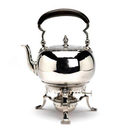 A Dutch silver tea kettle on stand with burner, The Hague