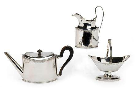 A Dutch silver three piece tea service