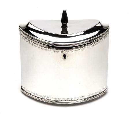 A Dutch silver tea caddy