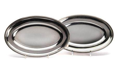 Two silver small deep meat dishes
