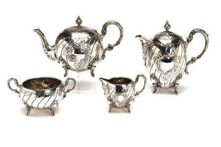 A four piece German silver tea and coffee service