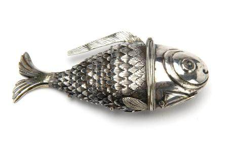A fine Dutch silver spice container in the shape of a fish