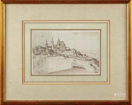 ÉCOLE ALLEMANDE du XVIIeVue d'une ville fortifiée (Wurtzburg ?)Dessin à l'encre brune et lavis