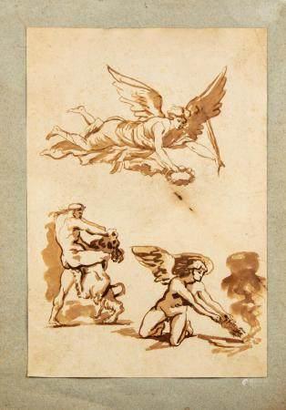 ECOLE FRANCAISE du début du XIXe Etudes de personnages ( Hercule - Hermès ...)Dessin à l'encre
