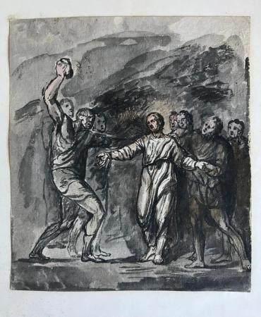 ÉCOLE FRANCAISE du début du XIXeScène de lapidation (recto) et étude de personnage (verso)Dessi