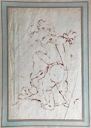 École FRANCAISE du XIXePutti à la hotteDessin à l'encre (?) sur papier (en feuille)31 x 20 cm à