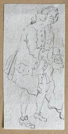 École ETRANGERE du XVIIIeHomme à la tabatièreDessin à l'encre (en feuille)14 x 7 cm