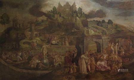 ECOLE FLAMANDE de la fin du XVIe Histoire de la vie d'un SaintHuile sur toile 136 x 224 cmSans