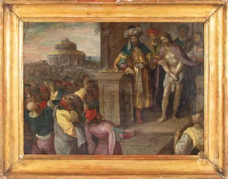 ECOLE FLAMANDE XVIIeEcce Homo ou Christ devant Ponce Pilate.Huile sur cuivre52 x 70 cmCadre en