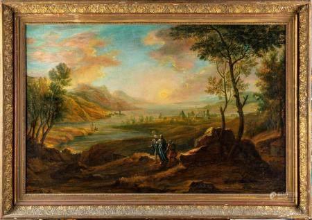 ÉCOLE FRANCAISE de la fin du XVIIIeLe Christ et les pelerins d'Emmaüs dans un paysage imaginair