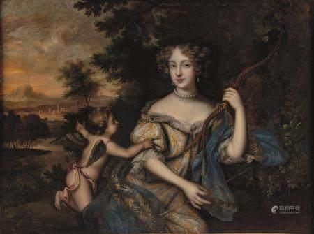 Entourage de Pierre MIGNARD (1612-1695)Portrait de femme en Diane accompagnée par un Amour Huil