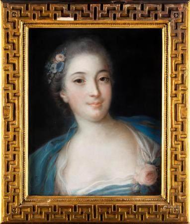 ECOLE ITALIENNE  de la fin du  XVIIIe dans le goût de Rosalba CARRIERA Portrait de femme à la r
