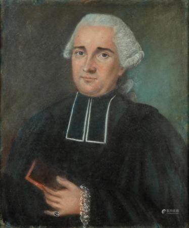 ECOLE FRANCAISE du XVIIIePortrait d'un ecclésiastique Pastel75 x 50 cm environCadre en bois dor